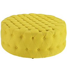 Amour Upholstered Fabric Ottoman, Yellow, Fabric 10744