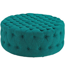 Amour Upholstered Fabric Ottoman, Blue, Fabric 10745