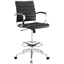 Jive Aluminum Drafting Chair, Black, Faux Leather 10804