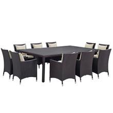 Convene Eleven PCS Outdoor Patio Dining Set, Beige, Rattan 10808
