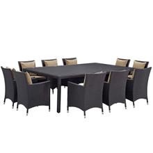 Convene Eleven PCS Outdoor Patio Dining Set, Brown, Rattan 10809