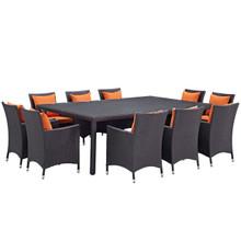 Convene Eleven PCS Outdoor Patio Dining Set, Orange, Rattan 10810