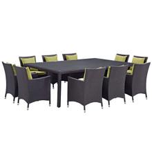 Convene Eleven PCS Outdoor Patio Dining Set, Green, Rattan 10811