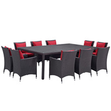 Convene Eleven PCS Outdoor Patio Dining Set, Red, Rattan 10812