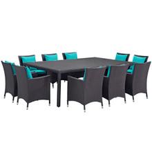 Convene Eleven PCS Outdoor Patio Dining Set, Blue, Rattan 10813