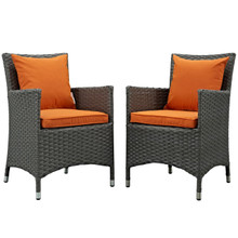 Sojourn Dining Chair ( Set of Two), Orange, Rattan 10824