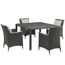 Sojourn Five PCS Outdoor Patio Sunbrella Dining Set, Beige, Rattan 10828
