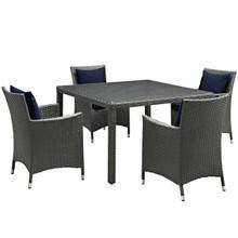 Sojourn Five PCS Outdoor Patio Sunbrella Dining Set, Navy, Rattan 10829