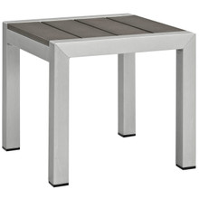 Shore Outdoor Patio Aluminum Side Table, Grey, Metal 10835
