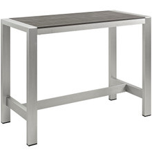 Shore Outdoor Patio Aluminum Rectangle Bar Table, Grey, Metal 10842