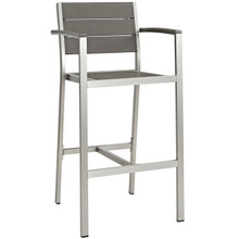 Shore Outdoor Patio Aluminum Bar Stool, Grey, Metal 10843