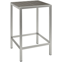 Shore Outdoor Patio Aluminum Bar Table, Grey, Metal 10845