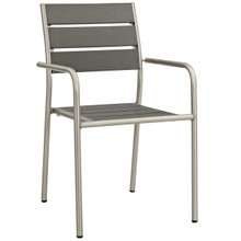 Shore Outdoor Patio Aluminum Dining Chair, Grey, Metal 10847