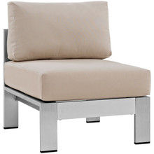 Shore Armless Outdoor Patio Aluminum Chair, Beige, Metal 10855