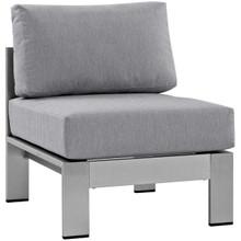 Shore Armless Outdoor Patio Aluminum Chair, Grey, Metal 10856