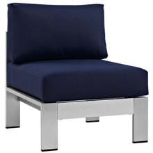 Shore Armless Outdoor Patio Aluminum Chair, Navy, Metal 10857