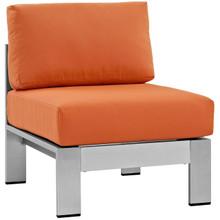 Shore Armless Outdoor Patio Aluminum Chair, Orange, Metal 10858