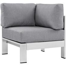 Shore Outdoor Patio Aluminum Corner Sofa, Grey, Metal 10860