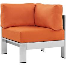 Shore Outdoor Patio Aluminum Corner Sofa, Orange, Metal 10862