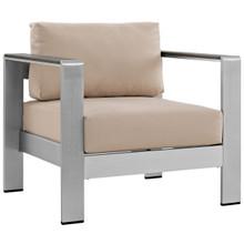 Shore Outdoor Patio Aluminum Armchair, Beige, Metal 10867