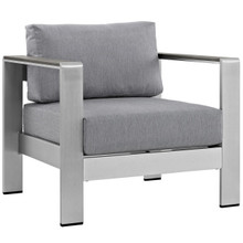 Shore Outdoor Patio Aluminum Armchair, Grey, Metal 10868
