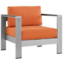 Shore Outdoor Patio Aluminum Armchair, Orange, Metal 10870