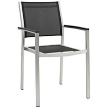 Shore Outdoor Patio Aluminum Dining Chair, Black, Metal 10882