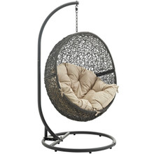 Hide Outdoor Patio Swing Chair With Stand, Beige, Rattan 10883