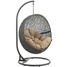 Hide Outdoor Patio Swing Chair With Stand, Brown, Rattan 10885