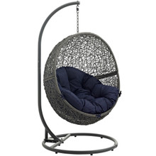 Hide Outdoor Patio Swing Chair With Stand, Navy, Rattan 10886
