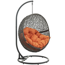 Hide Outdoor Patio Swing Chair With Stand, Orange, Rattan 10887