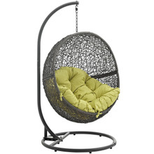 Hide Outdoor Patio Swing Chair With Stand, Green, Rattan 10888