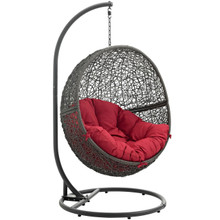 Hide Outdoor Patio Swing Chair With Stand, Red, Rattan 10889