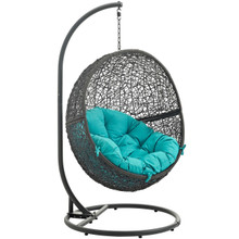 Hide Outdoor Patio Swing Chair With Stand, Blue, Rattan 10890