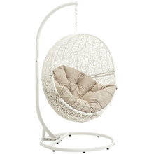 Hide Outdoor Patio Swing Chair With Stand, Beige, Rattan 10892