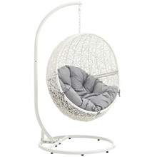Hide Outdoor Patio Swing Chair With Stand, Grey, Rattan 10893