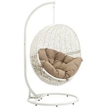 Hide Outdoor Patio Swing Chair With Stand, Brown, Rattan 10894