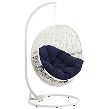Hide Outdoor Patio Swing Chair With Stand, Navy, Rattan 10895