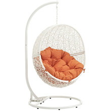 Hide Outdoor Patio Swing Chair With Stand, Orange, Rattan 10896