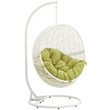 Hide Outdoor Patio Swing Chair With Stand, Green, Rattan 10897