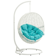 Hide Outdoor Patio Swing Chair With Stand, Blue, Rattan 10899
