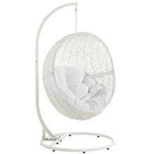 Hide Outdoor Patio Swing Chair With Stand, White, Rattan 10900