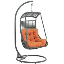 Jungle Outdoor Patio Swing Chair With Stand, Orange, Rattan 10901