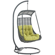 Jungle Outdoor Patio Swing Chair With Stand, Green, Rattan 10902