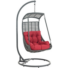 Jungle Outdoor Patio Swing Chair With Stand, Red, Rattan 10903