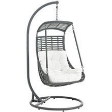 Jungle Outdoor Patio Swing Chair With Stand, White, Rattan 10904