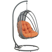Whisk Outdoor Patio Swing Chair With Stand, Orange, Rattan 10905