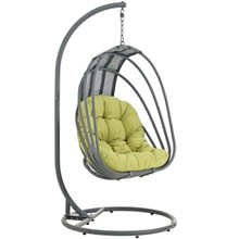 Whisk Outdoor Patio Swing Chair With Stand, Green, Rattan 10906