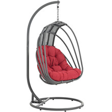 Whisk Outdoor Patio Swing Chair With Stand, Red, Rattan 10907