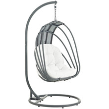 Whisk Outdoor Patio Swing Chair With Stand, White, Rattan 10908